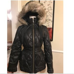 Juicy couture black puffy fur hooded coat